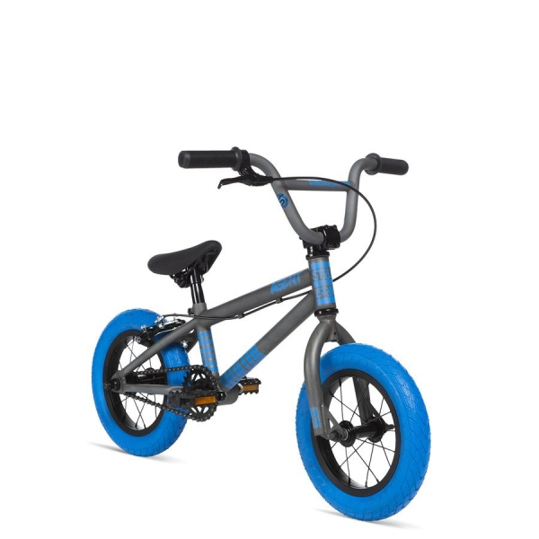 STOLEN AGENT 12 2020 13.25 Matte Raw Paint with Dark Blue tires BMX bike