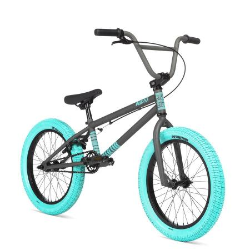 STOLEN AGENT 18 2020 18 Matte Raw Paint with Dark Blue tires BMX bike