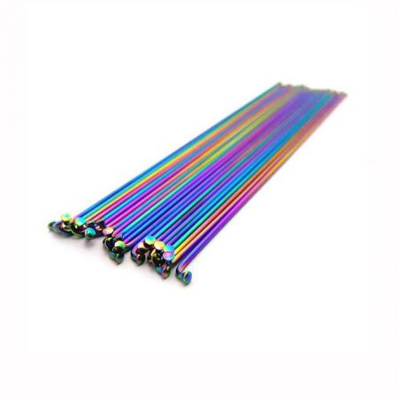 Armour bikes 14G satainless steel oil slick 188mm 20pcs. With nipples BMX Spokes